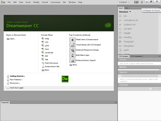 The Dreamweaver CC Welcome screen provides shortcuts to recently opened files, new file types, and