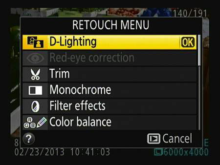 In single-frame playback view, press OK to access the Retouch menu tools.