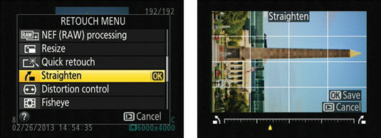 Press the Multi Selector right or left to rotate the image in increments of .25 degrees.