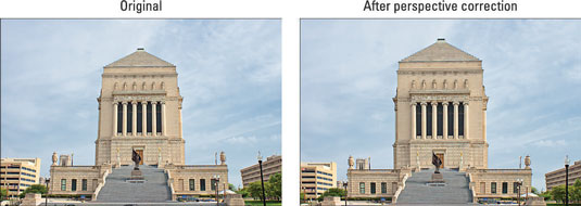 The original photo exhibited convergence (left); applying the Perspective Control filter corrected