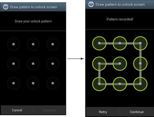 Screenshots of the process you have to follow to set up an unlock pattern on a Galaxy S 4.