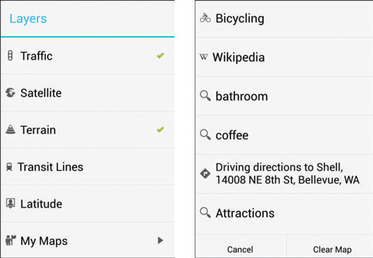 The Galaxy S 4 Map's Layers pop-up.