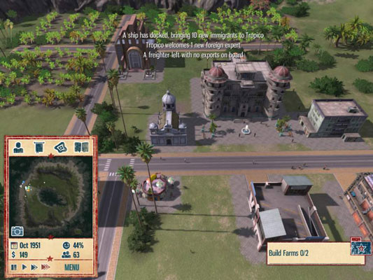Tropico 4, a simulation game that allows players to build a city and protect it from strife, rebellion and even earthquakes.