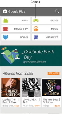 Google Play Store home page.