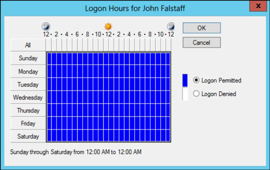 The logon hours for a user in Windows Server.