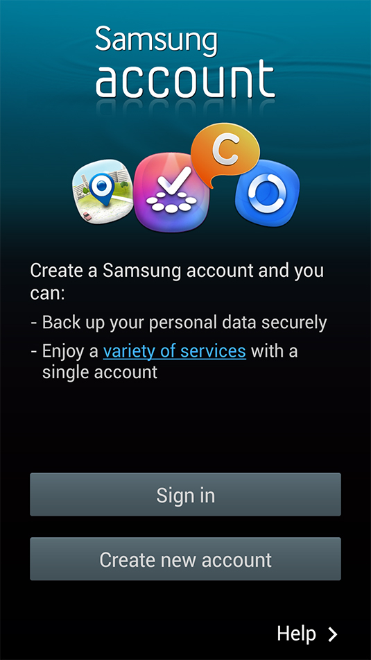 Samsung Account Sign-In screen.