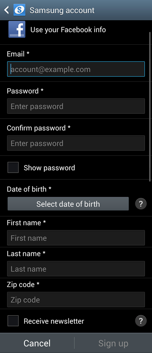 Create New Account screen on the Samsung Account app.