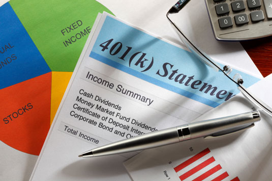 A group of financial statements and graphs, including a 401(k).