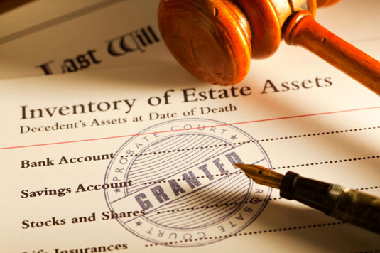 An Inventory of Estate Assets with an approval stamp from the Probate Court.