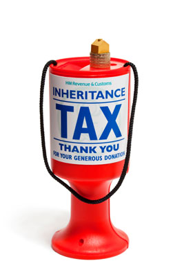 An inheritance tax donations box.