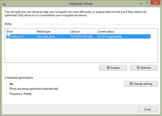 disk defragmenter windows 8