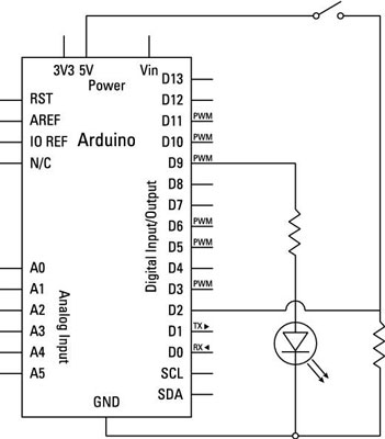 what you should know about circuit diagrams for arduinos dummies rh dummies com arduino wiring diagram online arduino switch wiring diagram