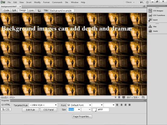 How To Insert A Background Image In Dreamweaver Dummies