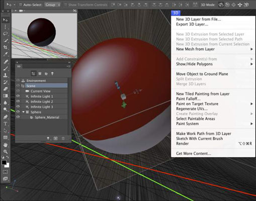 Tools, menus, and panels specially for working in 3D.