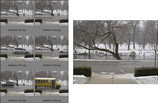 The cars on either side of the river, the bus, and even the falling snow are removed using Median.