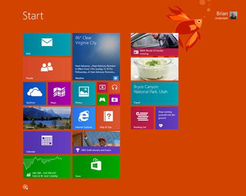 The Windows 8.1 Start page.
