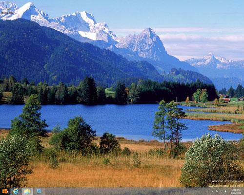 Windows desktop with the photo of a landscape.