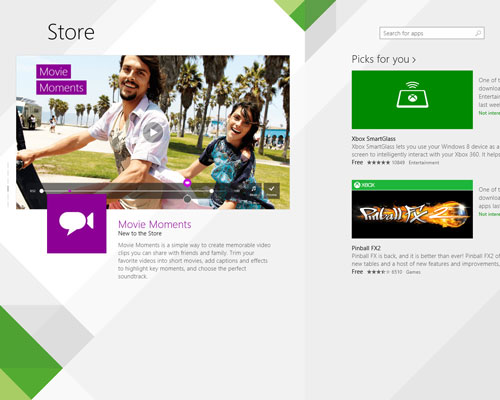 The Windows Store homepage.