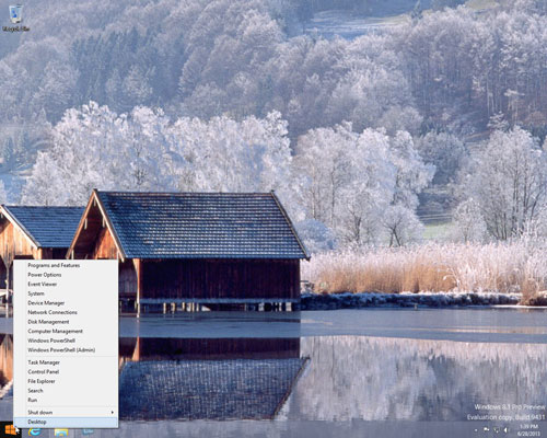 Menu that appears when you right-click the start button on Windows 8.1