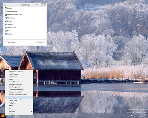 Open Task Manager dialog box on Windows 8.1