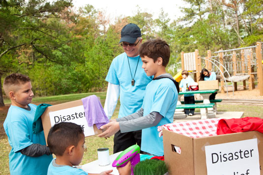 Kids participating in a disaster relief event.
