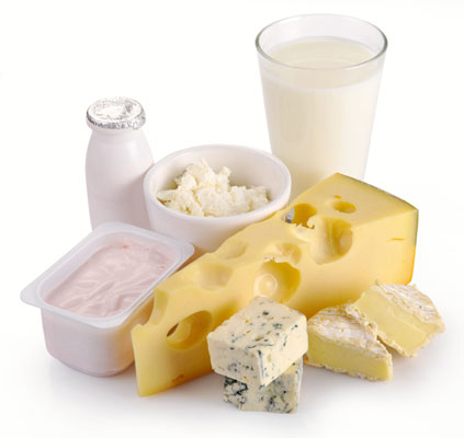 A selection of dairy products: Milk, cheese, yogurt and butter.