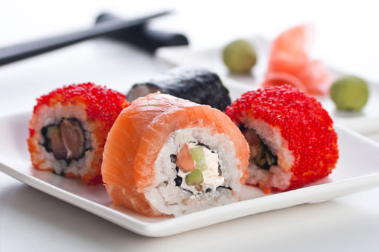 A plate of sushi.