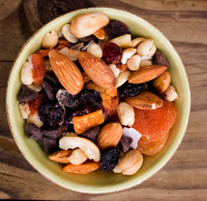 A bowl of trail mix.