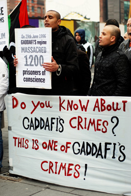 During the war, Libyans near and far from their homeland protested Gaddafi's regime, such as these