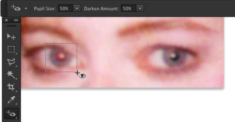 To the left, the Red Eye tool being dragged; to the right, the result.
