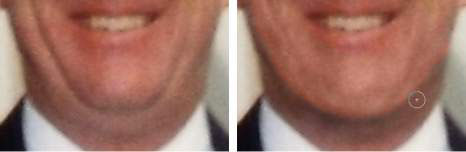 Burning and dodging can reduce even a very prominent double chin.