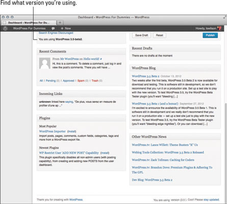 The version information of the WordPress dashboard.
