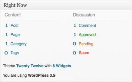 The Right Now module in the WordPress Dashboard