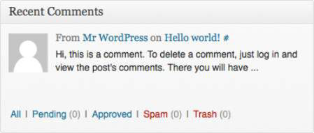 The Recents Comments module in the WordPress Dashboard