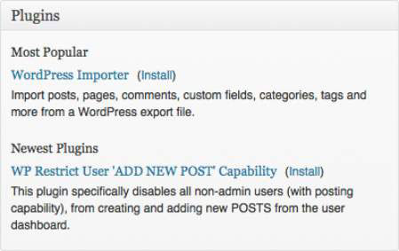 The Plugins module on the WordPress Dashboard