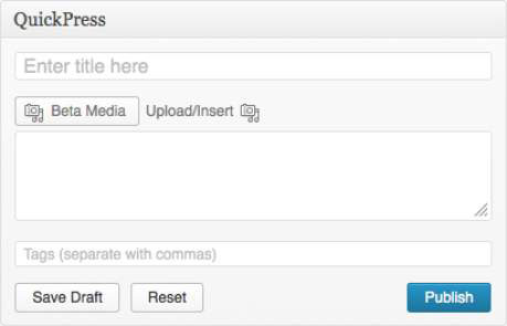 The QuickPress module on the WordPress Dashboard