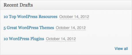 The Recent Drafts module on the WordPress Dashboard