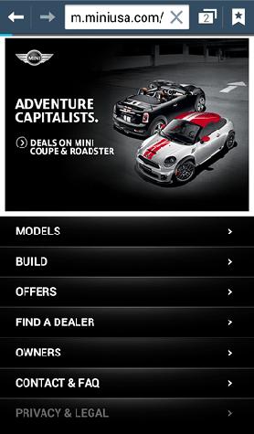 The Mobile website of Mini Cooper.