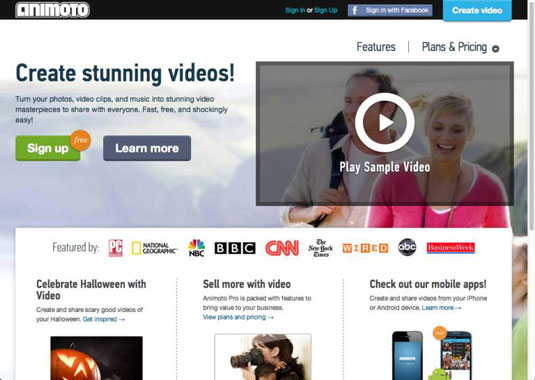Screenshot of Animoto, a web-based tool that enables users to create an unlimited number of 30-second videos for free.