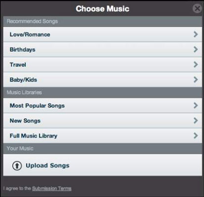 Animoto provides a selection of music tracks that users can include in their videos.