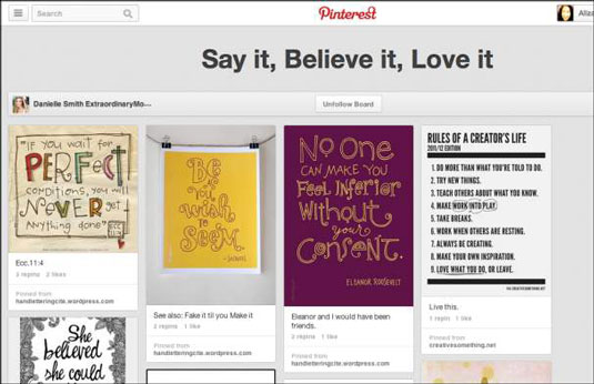 Pinterest board Say It, Believe It, Love It