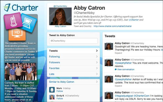 Twitter page of one of the Social Media specialists for television company Charter.