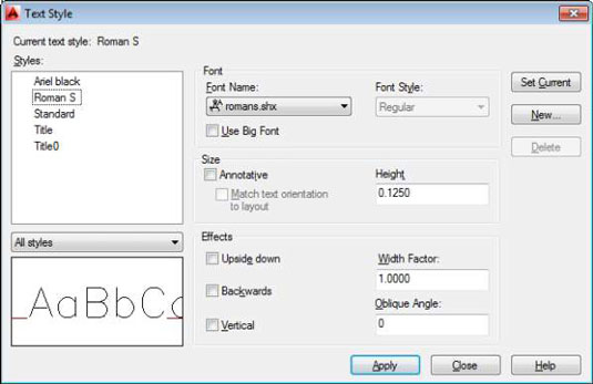 How to Create a New Text Style in AutoCAD 2014 - dummies