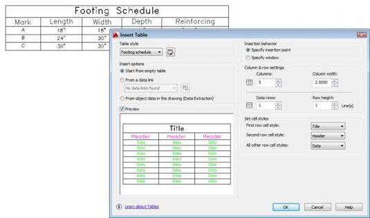 How to Create and Edit Tables in AutoCAD 2014 - dummies