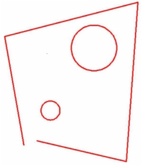 Two circles inside a trapezoid.