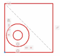 Drawing a line between opposite diagonal points.