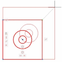 A square with two concentric circles.