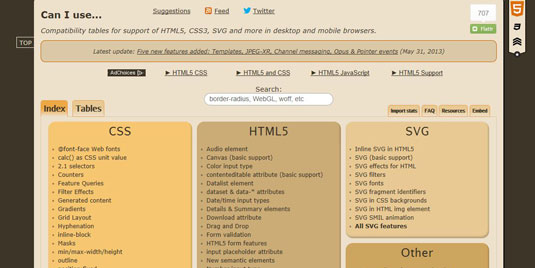 The website Can I Use has up-to-date compatibility tables for HTML 5 and CSS 3