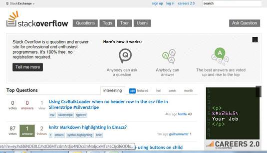 The StackOverFlow website.