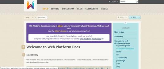 Community-driven site Web Platform Docs.